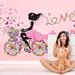 Wallpark Romantic Pink Flower Butterfly Fairy Girl Riding a Flower Bike Removable Wall Sticker Decal, Children Kids Baby Home Room Nursery DIY Decorative Adhesive Art Wall Mural