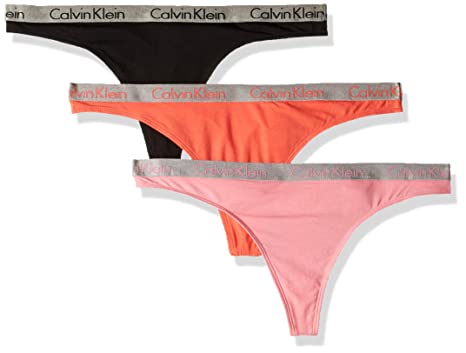a813cb2318 Calvin Klein Women s Radiant Logo Cotton 3 Pack Thong Panty at Amazon  Women s Clothing store