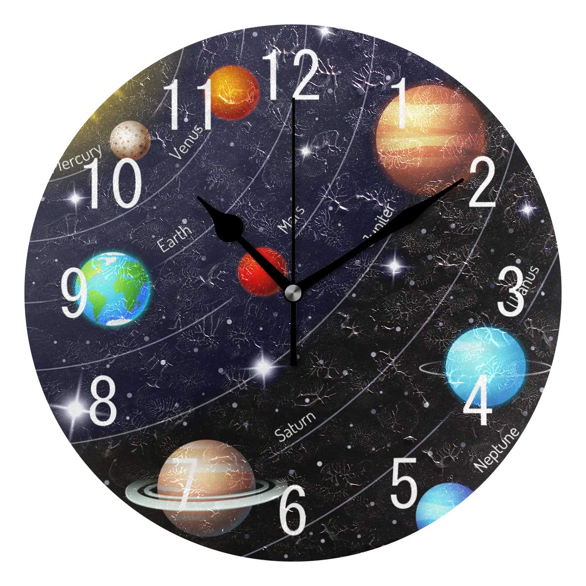 ALAZA Home Decor Space Planet Solar System Round Acrylic Wall Clock Non Ticking Silent Clock Art for Living Room Kitchen Bedroom