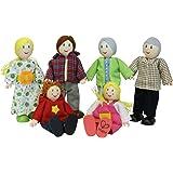 Hape Caucasian Doll Family Set for Kid's Dollhouses