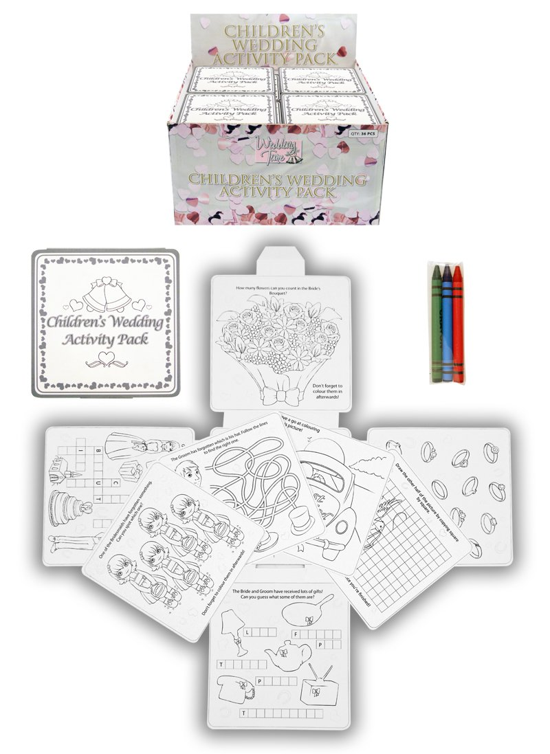 4 Wedding Childrens Activity Pack Crayons Drawing Colouring Book Travel Games Amazoncouk Kitchen Home