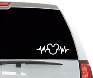 A&B's Mickey Mouse Heartbeat Sticker Vinyl Decal Sticker Disney Cute Stickers for Car Window/Bumper, Stickers for MacBook, Laptop, Door and Wall by A-B Traders.