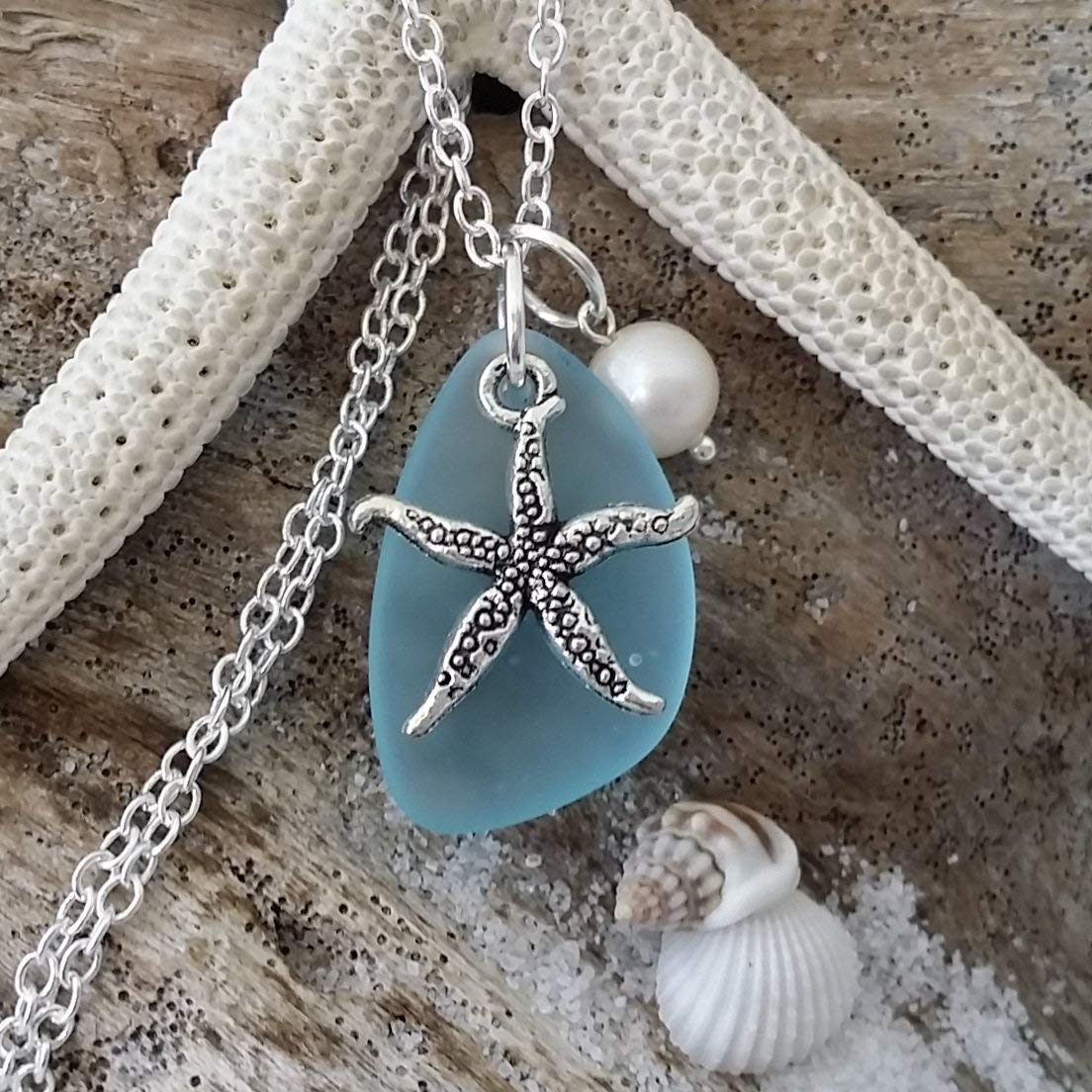 Handmade in Hawaii, turquoise bay blue sea glass necklace,starfish charm,freshwater pearl,
