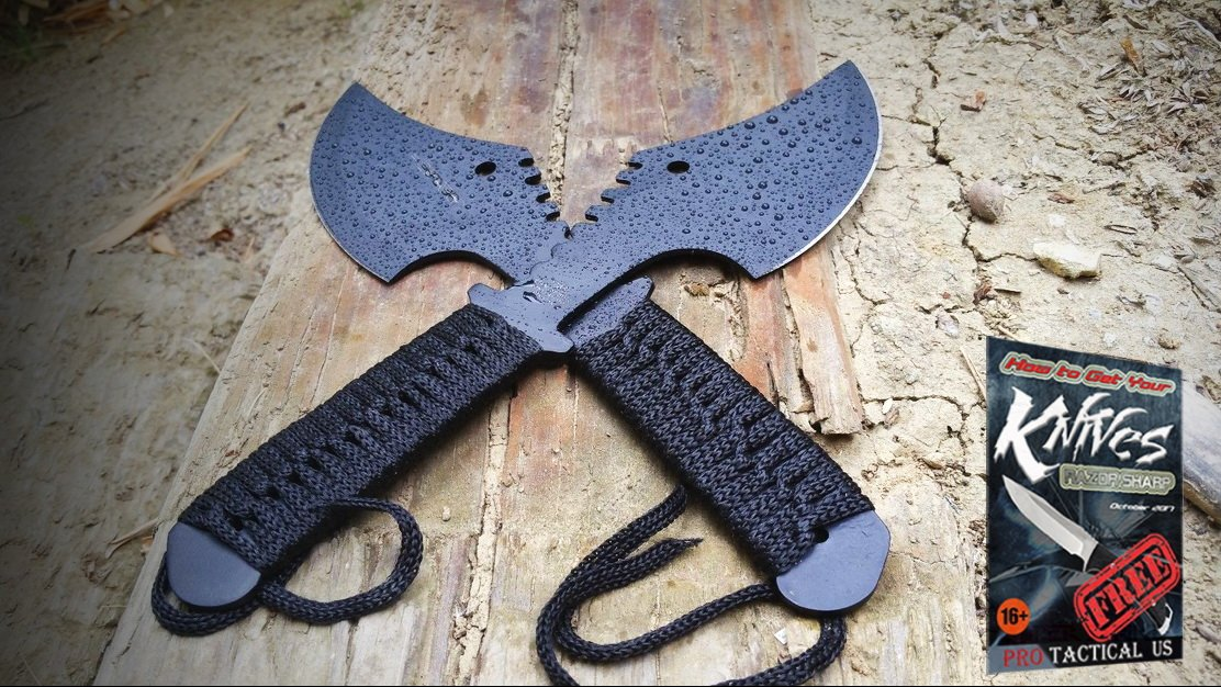 2 Pc 11.5'' Survival Tomahawk Tactical THROWING AXE + SHEATH Hatchet Knife Set + free eBook by ProTactical'US