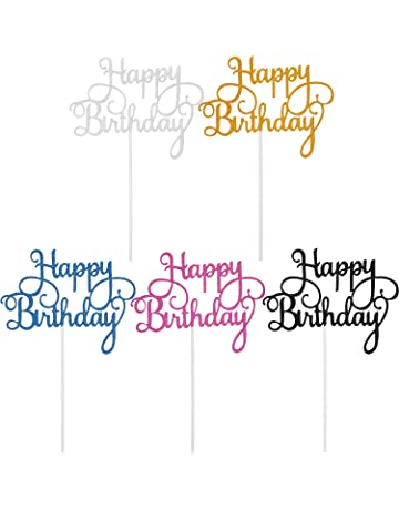 Yaomiao 25 Piezas de Topper de Pastel de Cumpleaños Palillos de Magdalena de Happy Birthday para