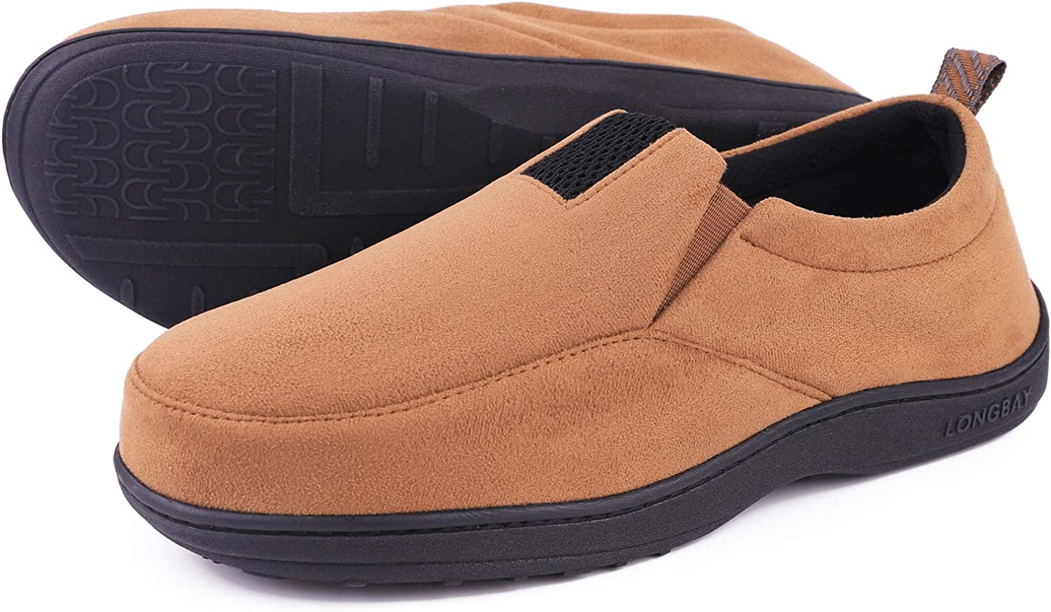 LongBay Mens Cozy Memory Foam Slippers Comfy House Shoes