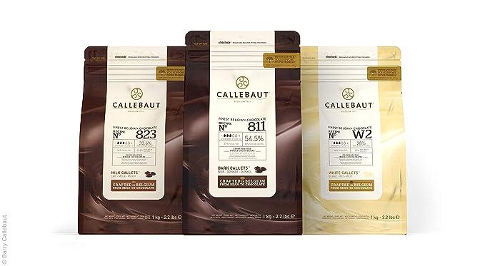 Callebaut, leche, oscuros y blancos chips de chocolate (3 x 1kg Bundle)