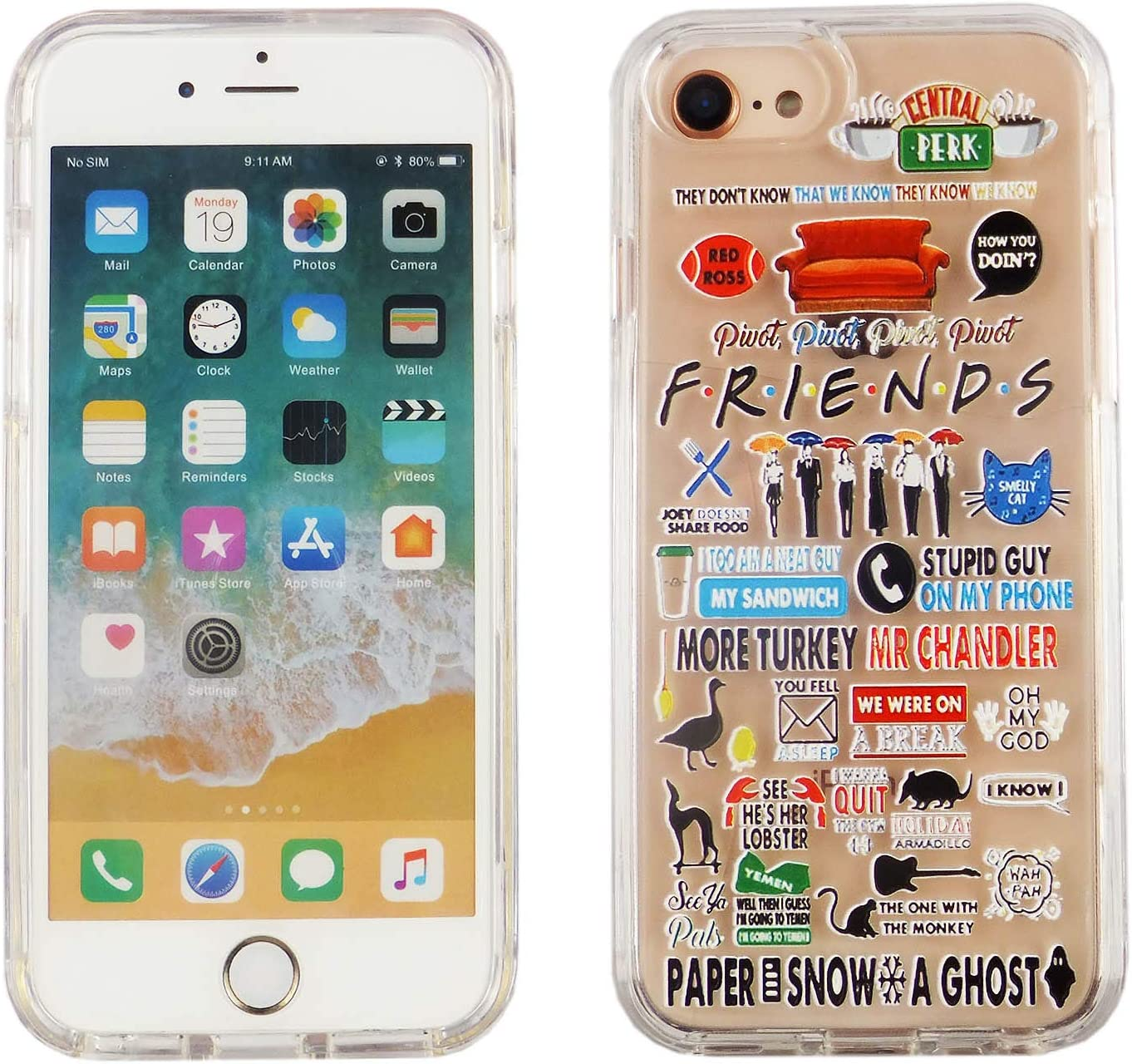 iPhone SE 2020 4.7 Inch Dual Slim Case CASEVEREST 3D Print Cover iPhone SE Friends TV Show Icons Quotes Clear iPhone 6S 7 8 PC+PTU