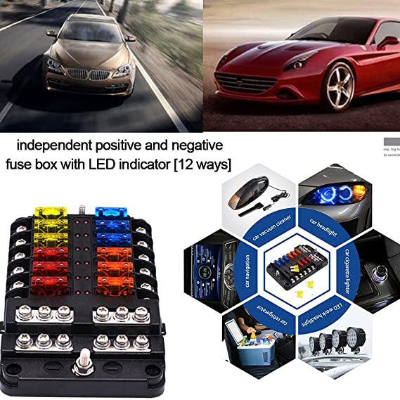 amazon com cheng store fuse box independent positive and negative Lincoln Town Car Fuse Box Diagram amazon com cheng store fuse box independent positive and negative 12 ways fuse box with led indicator automotive