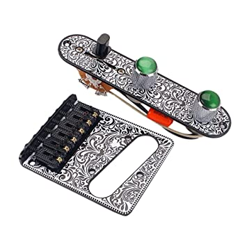 Healifty Placa de control del interruptor Perillas de interruptor de 3 vías Puente fijo para guitarra Guitarra eléctrica Repuestos Accesorios (blanco y ...