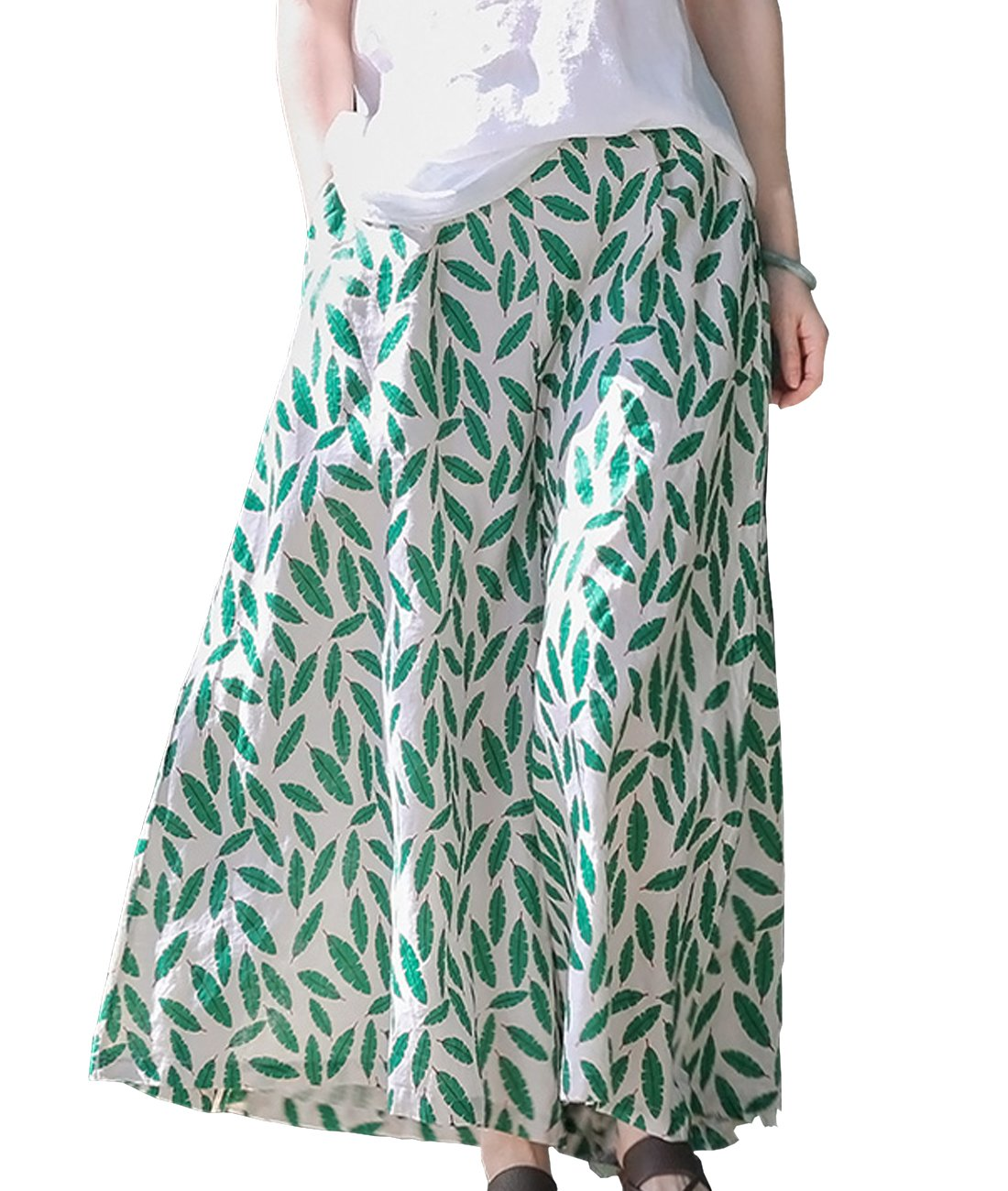 YESNO PZ2 Women Casual Loose Floral Cropped Pants Skirts 100% Linen Wide Leg Low Crotch Pocket