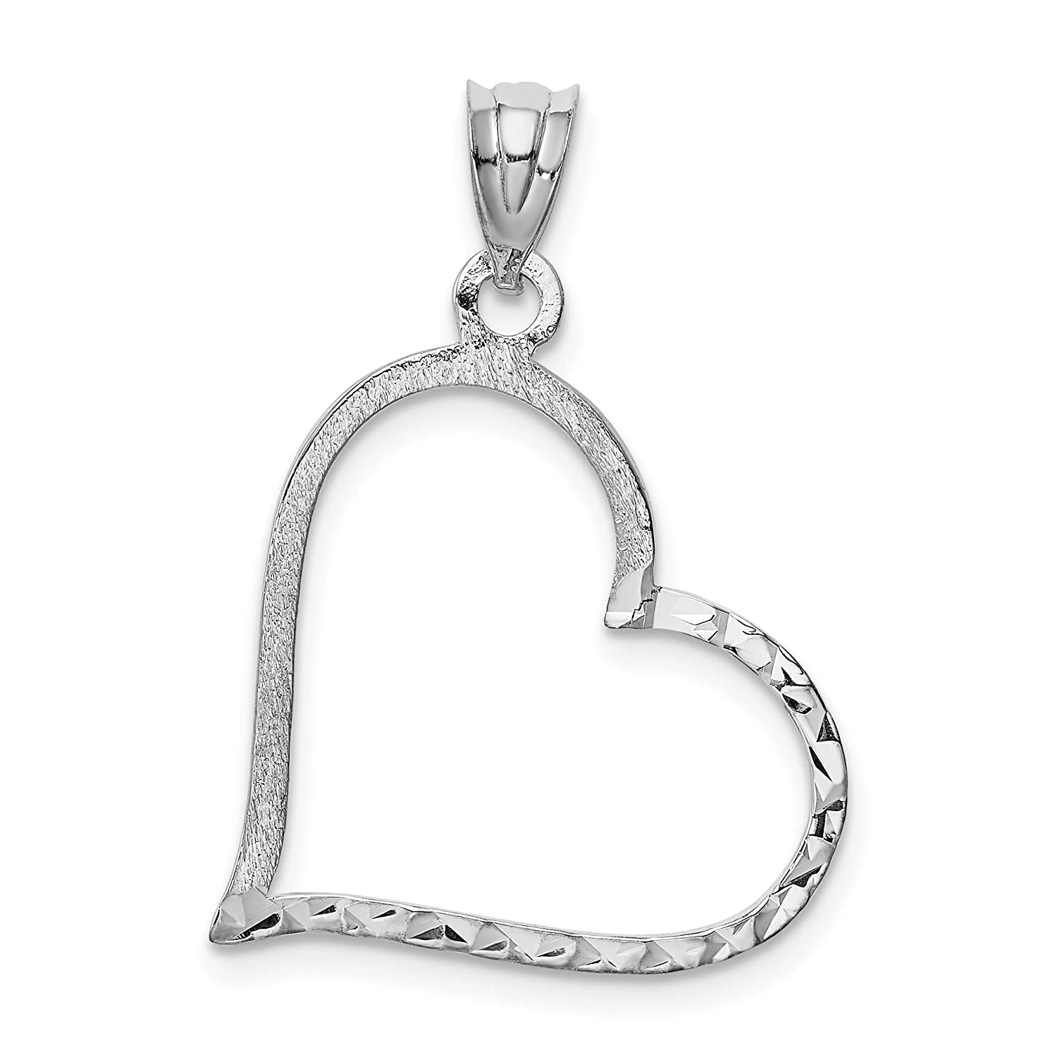 14k White Gold Solid Satin Small Reversible Heart Pendant 27x20mm