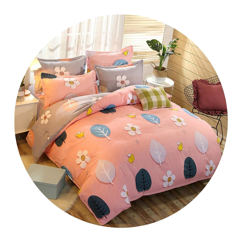 Demasia store-bedandbath Bedding Set Plant Cashmere Cotton Thickening Sanding Four-Piece Dormitory Bed Linen Quilt Cover,06,1.5m