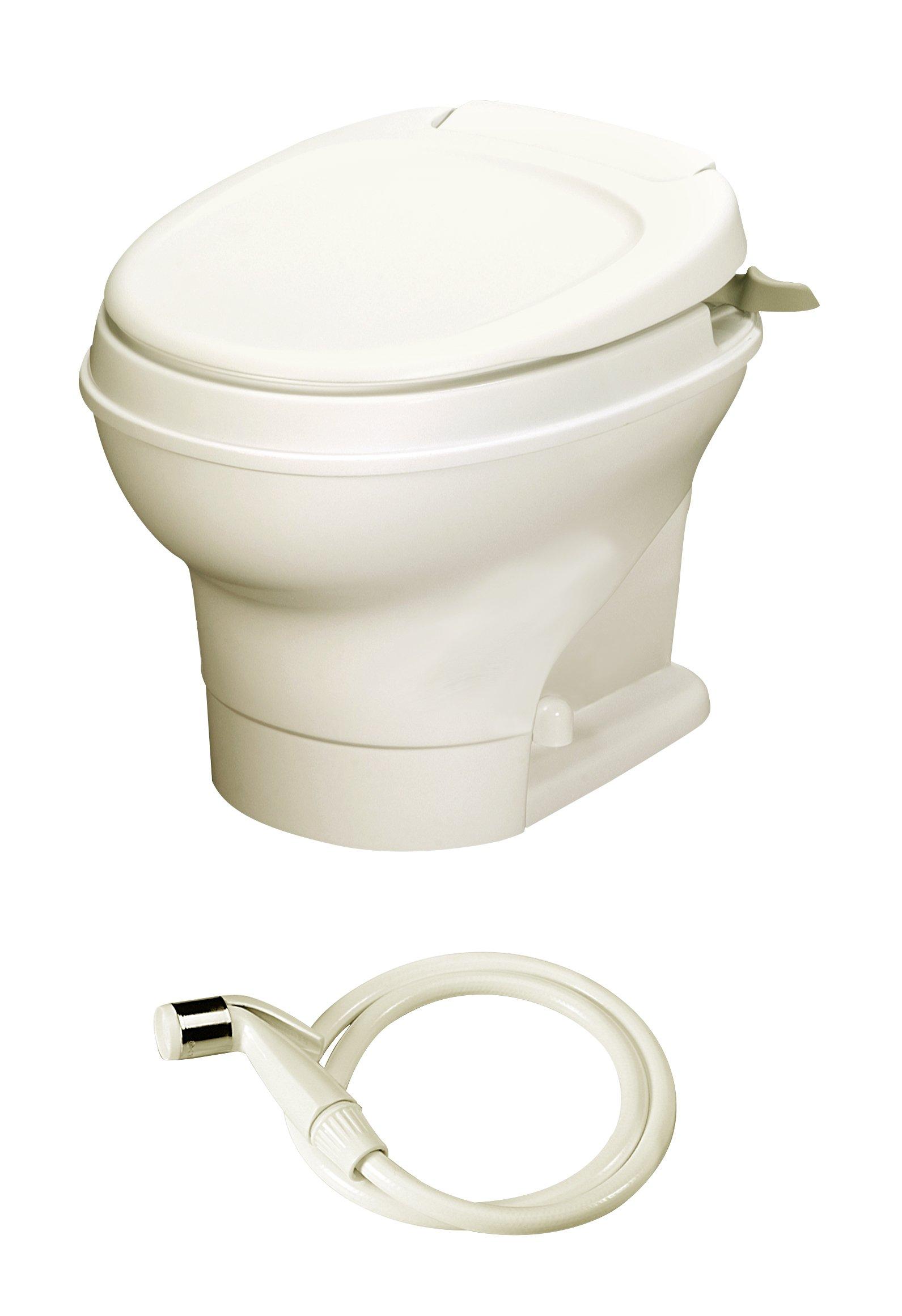 Aqua-Magic V RV Toilet Hand Flush with Hand Sprayer / Low Profile / Parchment - Thetford 31658 by Thetford