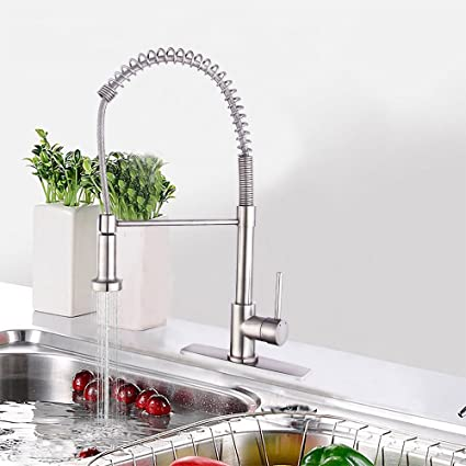 Single Handle Commercial Kitchen Faucet, Hippih Lead-free Kitchen Sink  Faucet with Dual Functions, Pull down & Pull Out Sprayerhead with 2 Flows,  Deck ...