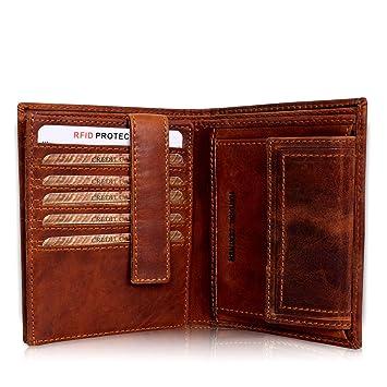 24f96e654373c Geldbörse Herren Leder mit TÜV-zertifiziertem RFID Schutz Portemonnaie  Brieftasche Portmonee Vintage Geldbeutel mit Münzfach