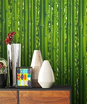 Newroom Papier Peint Vert Bambou Nature Papier Amazonfr Bricolage