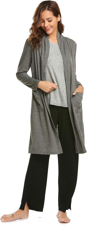 Ekouaer Womens Soft Drape Long Sleeve Pocket Waterfall Lightweight Breathable Long Open Front Cardigans Sweater