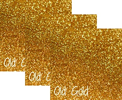 """10/""""x12/"""" 3-pack Siser Glitter Iron-on Heat Transfer Vinyl Sheets Old Gold"""