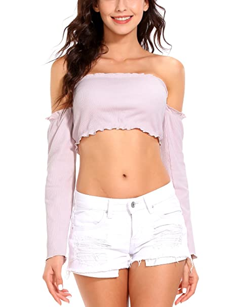 6d3ae5c1d60 ISASSY Women's Off Shoulder Long Sleeve Tank Ruffle Frill Bardot Crop Cut  Out Tops Shirt Blouse