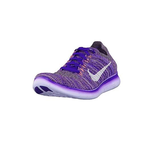 Nike Women's Free Running Motion Flyknit Shoes, Grand Purple/White-bright  Mango-