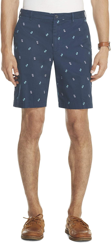 Izod Mens Saltwater Stretch 9.5 Chino Printed Shorts Khaki Shorts