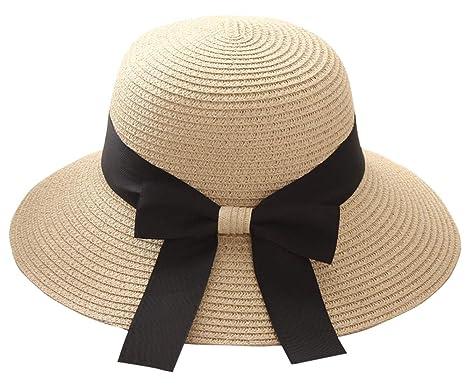 d8953d8119d9f Women Sun Beach Straw Hats Wide Brim Foldable Girls Summer Cap with Big  Bowknot