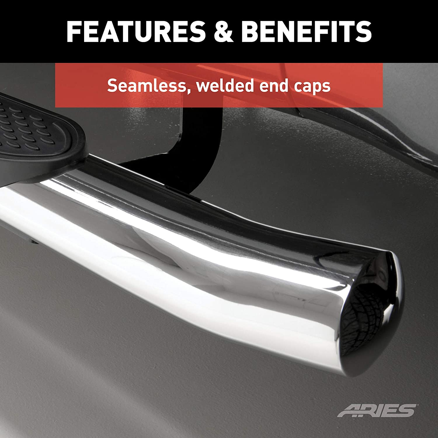 Aries Automotive S224009-2 The Standard 4-Inch Polished Stainless Steel Oval Nerf Bar