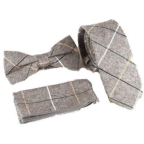 YUANLINGWEI Moda Hombre Rejilla Gris Traje Ajustado Corbata Traje ...