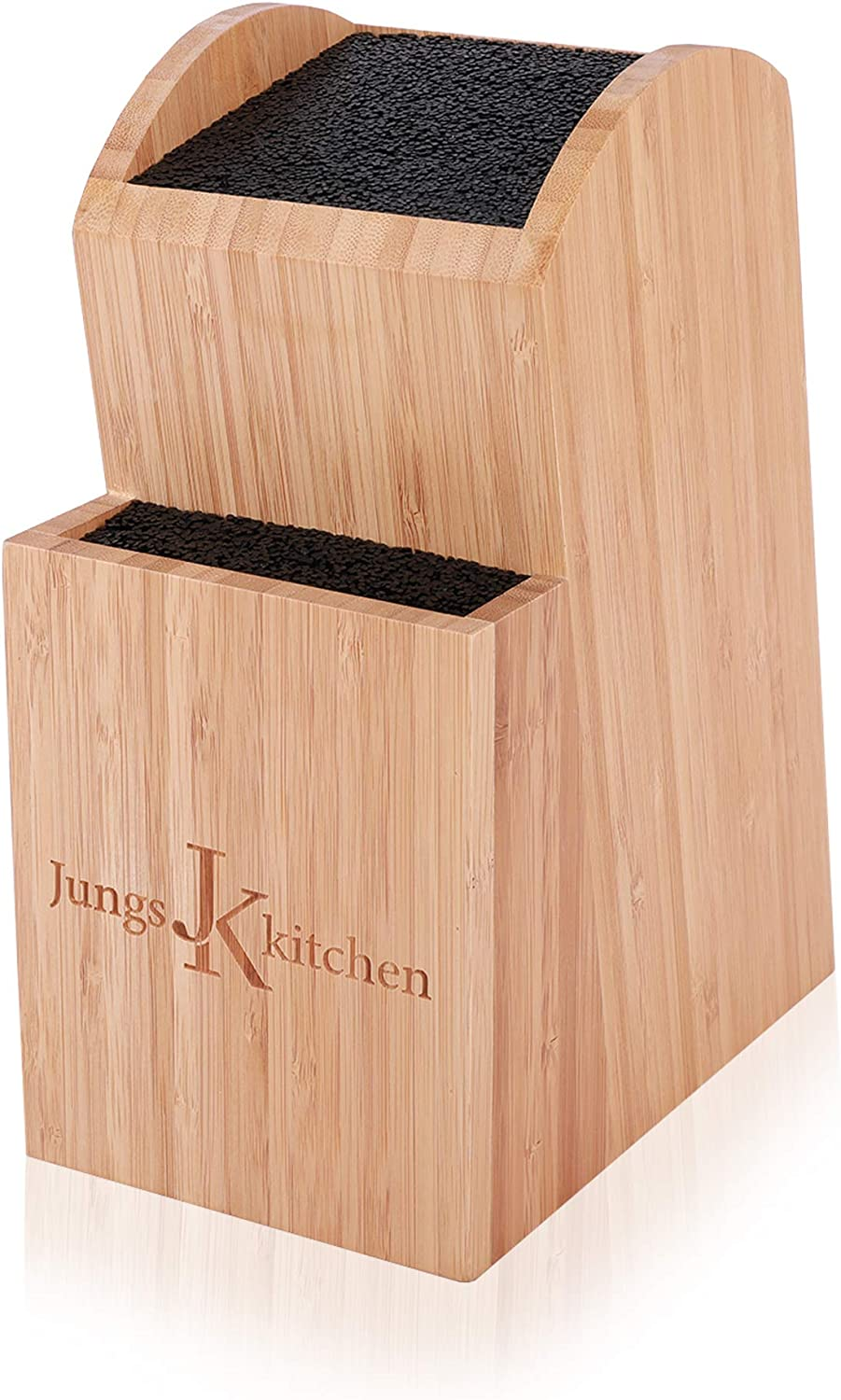 JUNGS KITCHEN Premium Universal Knife Block Without Knives - 2 Tier Bamboo Kitchen Knife Holder Up to 16 Small and Large Knives Storage, Easy to Clean The Flexible Rods.