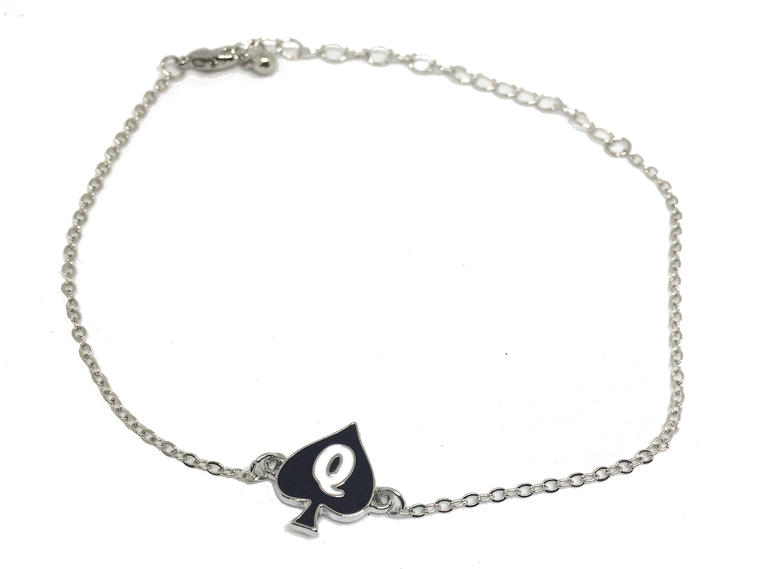 Alternative Intentions Q Spade (Queen of Spades) Charm Anklets in Black Silver and Gold - Hotwife - Cuckoldress (Silver)