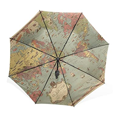 Kisy umbrella windproof compact old world map fashion folding kisy umbrella windproof compact old world map fashion folding travel rain umbrella gumiabroncs Gallery