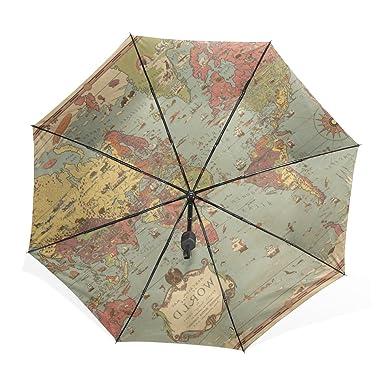 kisy umbrella windproof compact old world map fashion folding travel rain umbrella