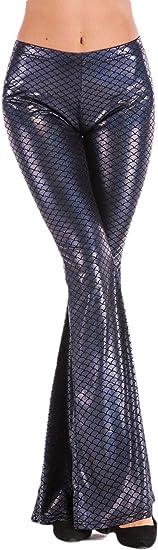 Qiangjinjiu 女性の人魚のスケールブーツカットフレアパンツベルボトムズボン