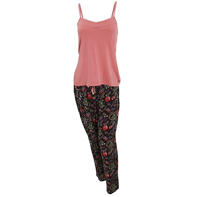 Conjunto de pijama de tirantes y pantalón largo para mujer (40-42/Rosa
