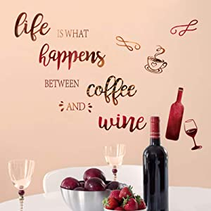 decalmile Wine Bottle Kitchen Wall Decals Quotes Life is What Happens Between Coffee and Wine Wall Stickers Dining Room Living Room Cupboard Wall Decor