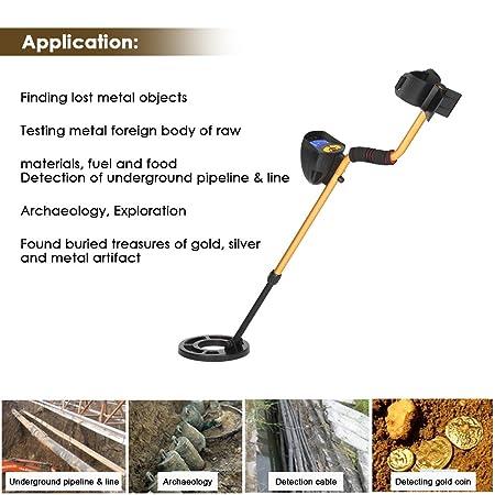 KKmoon Detector de metales subterráneo Detector de caza del tesoro subterráneo arqueológico con sonda y pantalla LCD de alta sensibilidad MD3010II ajustable ...