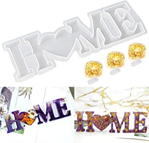 Palksky Home Sign Resin Mold Silicone Word Sign Epoxy Casting Mold with 3PCS Fairy Lights to Sparkle Your DIY Resin Project, Ideal Gift for Easter Home Wall Decorations