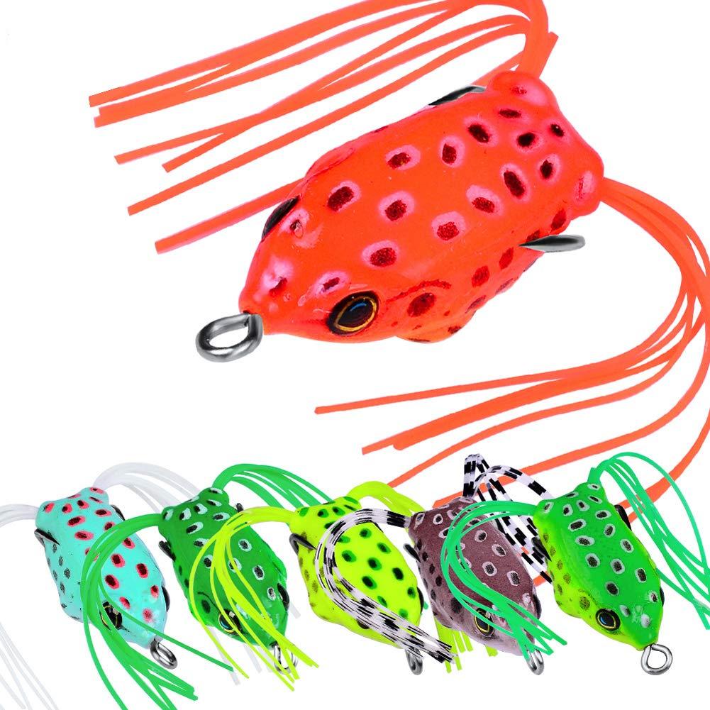 LPATTERN Se/ñuelos de Pesca de Rana Suave con Barba Cebo Artificial Pl/ástico Doble con Ganchos de Metal Cebos Bass para Topwater Frog Lures