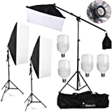 Abeststudio Photography Studio Softbox Lighting Kit with 4X 25W 5500K LED Bulbs Soft Box Arm Holder Photo Video Continuous Lighting Set for YouTube Portrait Shooting