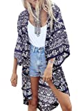 Choies Women's Chiffon Tribe Pattern 3/4 Sleeve Beach Cover Up Loose Kimono