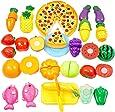 JT-Amigo Giocattoli - Gioco di Imitazione Cucina - Pizza, Frutta e Verdura in Plastica da Tagliare, Set 24 Pezzi