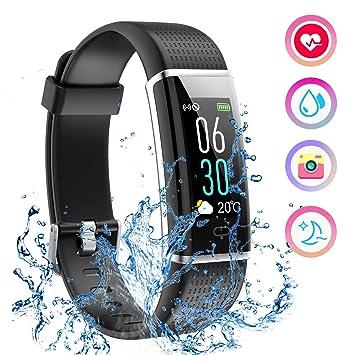 Mpow Fitness Tracker IP68 Reloj Fitness podómetro, pulsómetro de ...