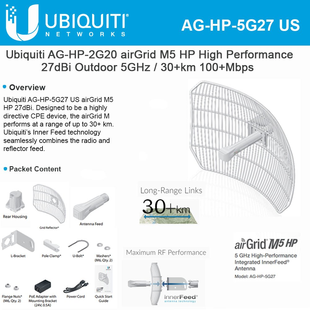 Airgrid M5 Hp 27dbi Grid Antenna 5ghz Cpe 24vdc Poe 300mw Buy Ubiquiti Litebeam 23 Lbe Online At Low Price In India
