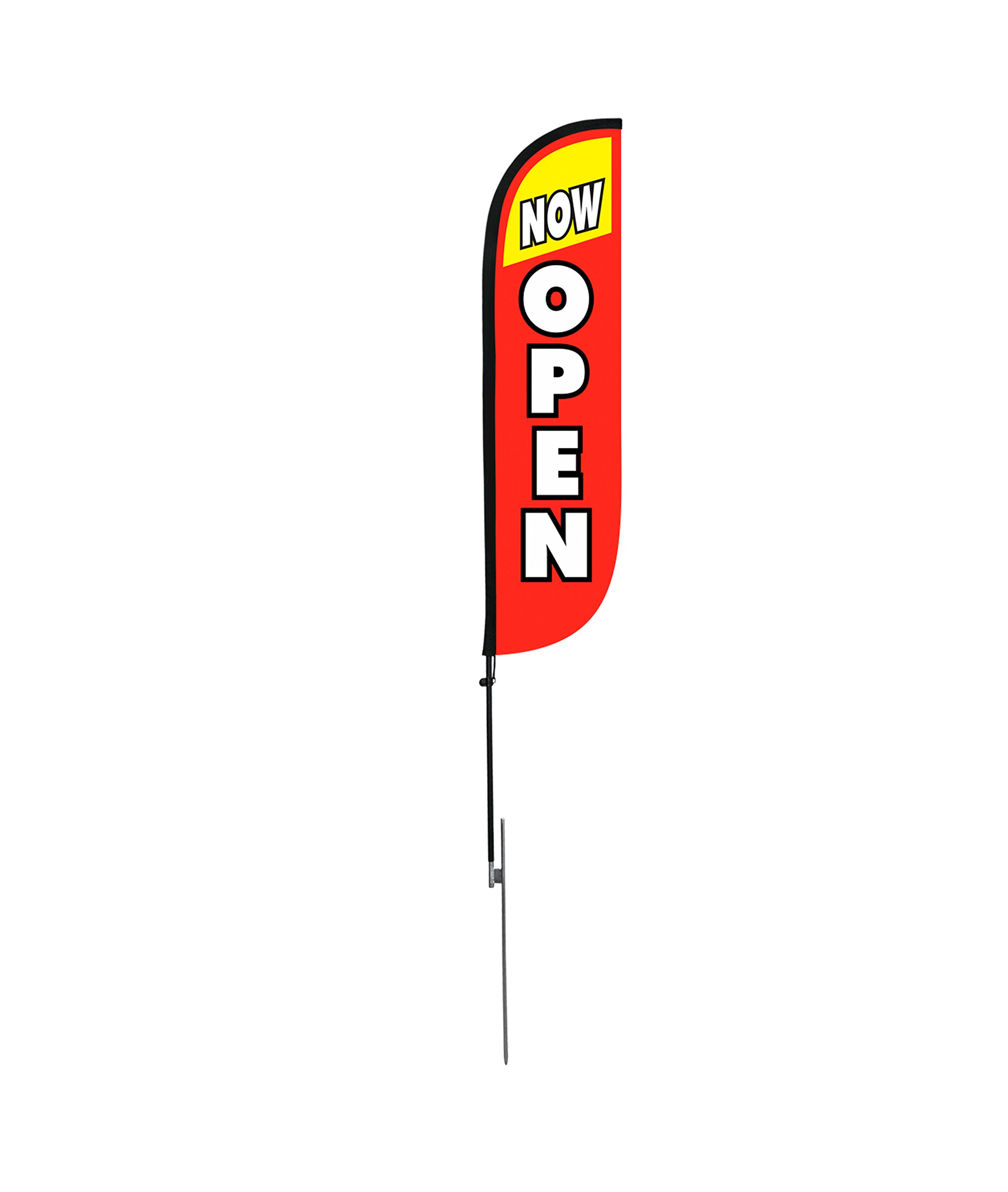 LookOurWay Now Open Red & Yellow Feather Flag Complete Set with Poles & Ground Spike, 5' by LookOurWay (Image #3)