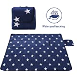 Uworth Star Extra Large Picnic Blanket Waterproof, Compact Fleece Picnic Rug Portable 200 x 200