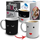 Heat Color Changing Mug Gift - 12 Oz Heat Sensitive Color and Smiley Face Morning Changing Drinkware Ceramic Coffee Tea Cup Black to White - Gift for Mom Friends Women & Men - Chuzy Chef