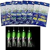 5pks Sabiki Size 4 GOLD 6-Hook Rig Fishing  Bait Lures #4 Glow beans Piscatore