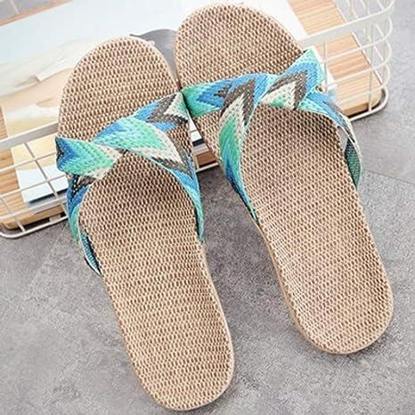 QIMITE Fascitis Plantar Lino Verano Home Zapatillas Mujer 35-45 Tamaño Grande bofetadas Chanclas de Playa Antiresbaladiza Familia Unisex Zapatillas 35-45: Amazon.es: Deportes y aire libre