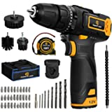 Cordless Drill, 12V Impact Drill Set with Dual-Speed, 21+1+1 Torque Settings, 1H Fast Charge, 3/8'' Keyless Chuck, 41pcs Acce